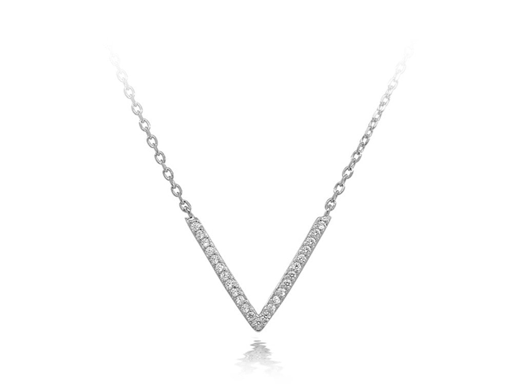 A Sterling Silver V Cubic Zirconia Necklace - Essentially Silver Jewelry