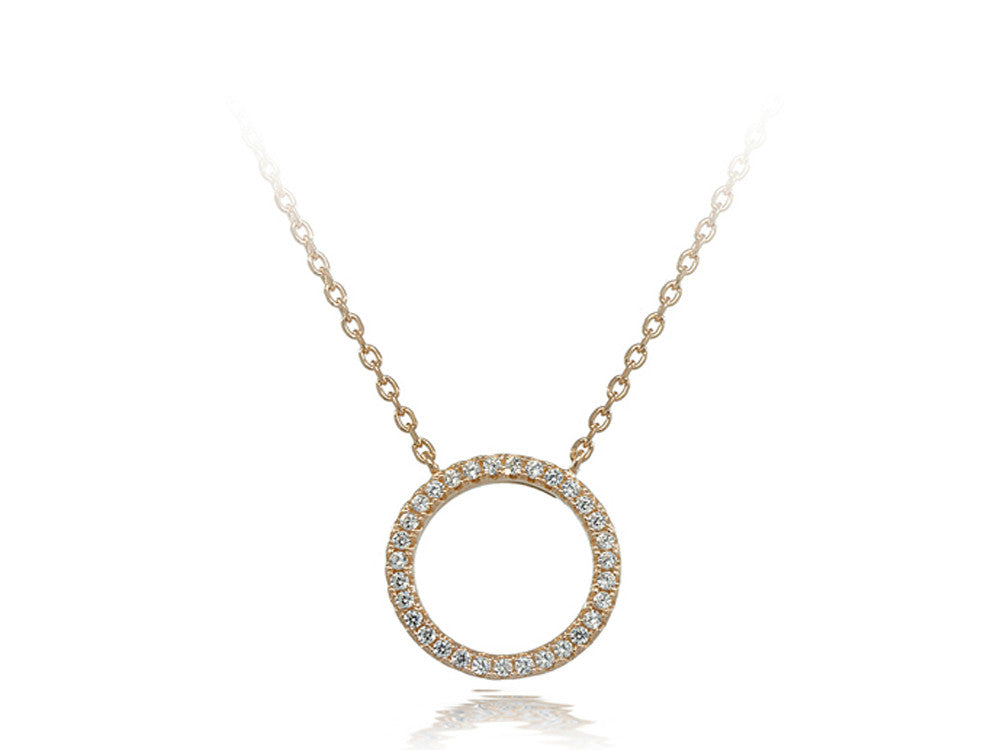 A Sterling Silver O Cubic Zirconia Necklace - Essentially Silver Jewelry