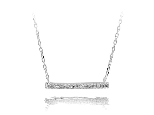 A Sterling Silver Bar Cubic Zirconia Necklace - Essentially Silver Jewelry