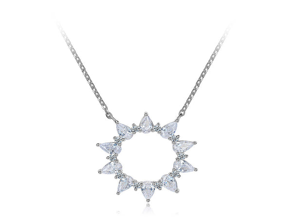 A Sterling Silver Cubic Zirconia Petal Sun Necklace - Essentially Silver Jewelry