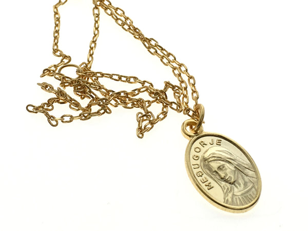 Coin 18K Gold Plated 925 Sterling Silver Virgin Mary Necklace