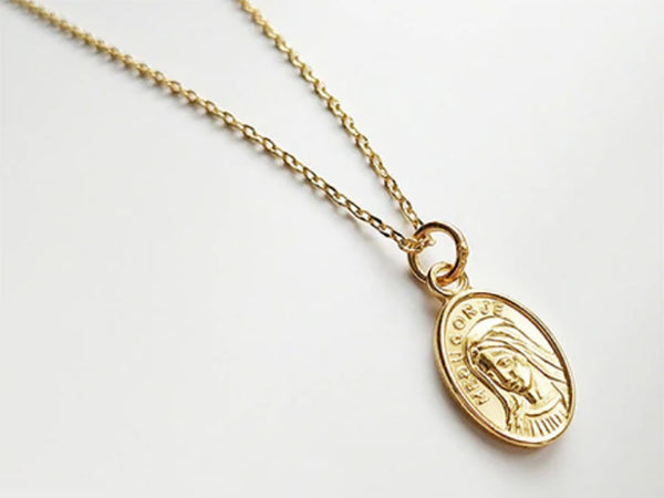 18K Gold Plated 925 Sterling Silver Virgin Mary Necklace