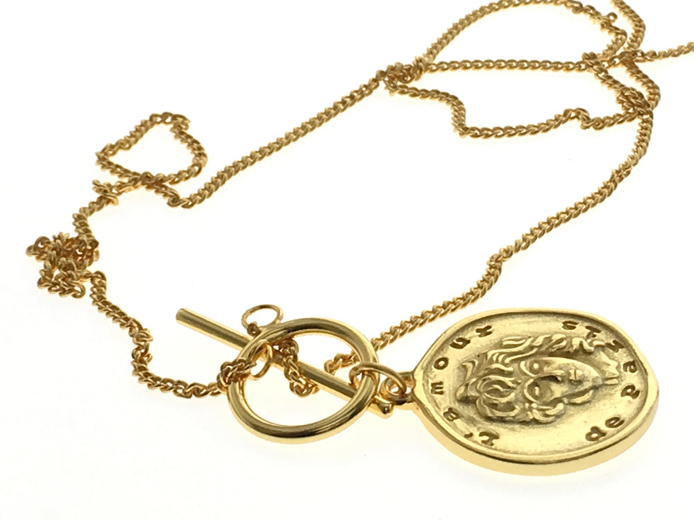 Coin 18K Gold Plated 925 Sterling Silver Necklace