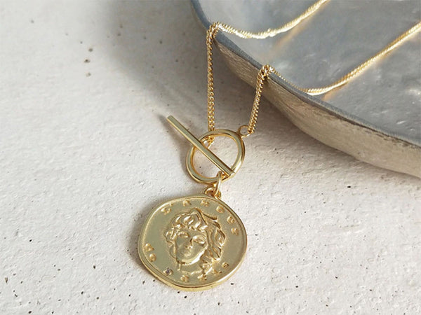 18K Gold Plated 925 Sterling Silver Coin Necklace