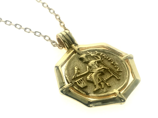 18K Gold Plated 925 Sterling Silver Coin Pendant