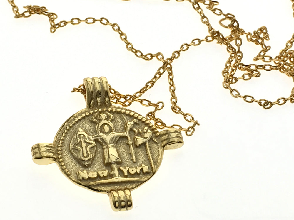 Coin 18K Gold Plated 925 Sterling Sllver Pharoh Totem Necklace