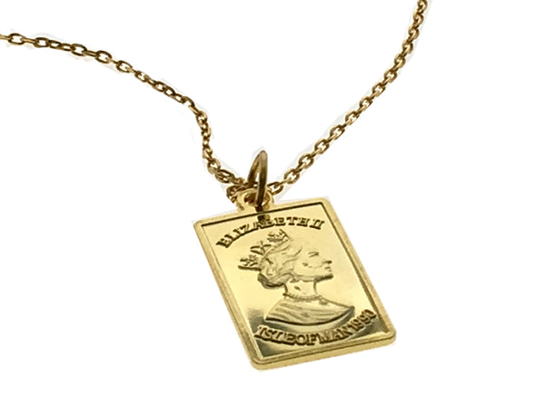 Coin 18K Gold Plated Sterling Silver Queen Elizabeth Necklace