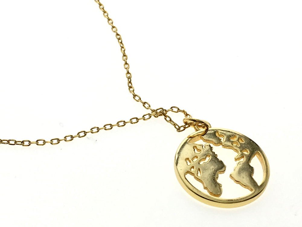 Coin 18K Gold Plated World Sterling Silver Necklace