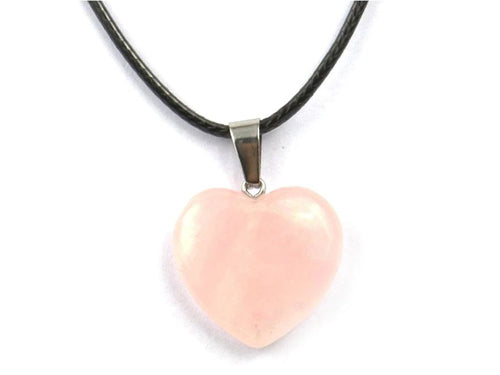 Heart Shape Rose Quartz Crystal Necklace