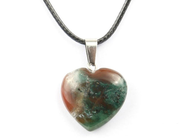 Heart Shape India Agate Crystal Necklace