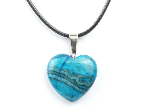 Heart Shape Blue Crazy Agate Crystal Necklace