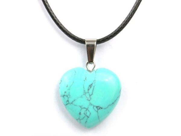 Heart Shape Blue Turquoise Crystal Necklace