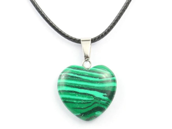 Heart Shape Malachite Crystal Necklace