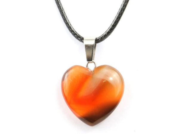Heart Shape Red Agate Crystal Necklace