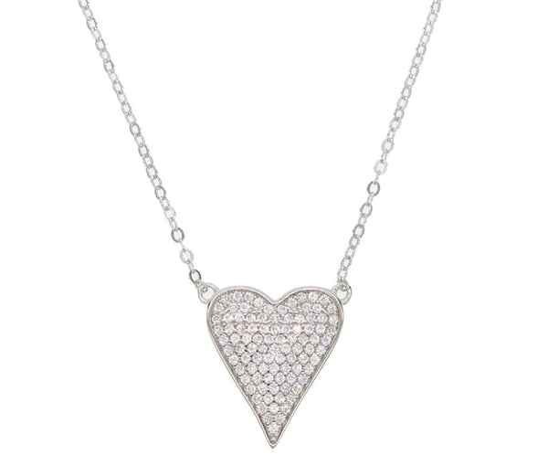 Cubic Zirconia Heart Sterling Silver Necklace