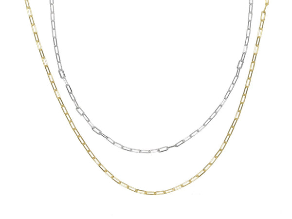 Gold Plated Sterling Silver Square Link Necklace