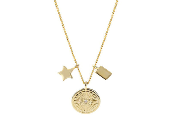 Gold Plated Sterling Silver Star Disk Necklace
