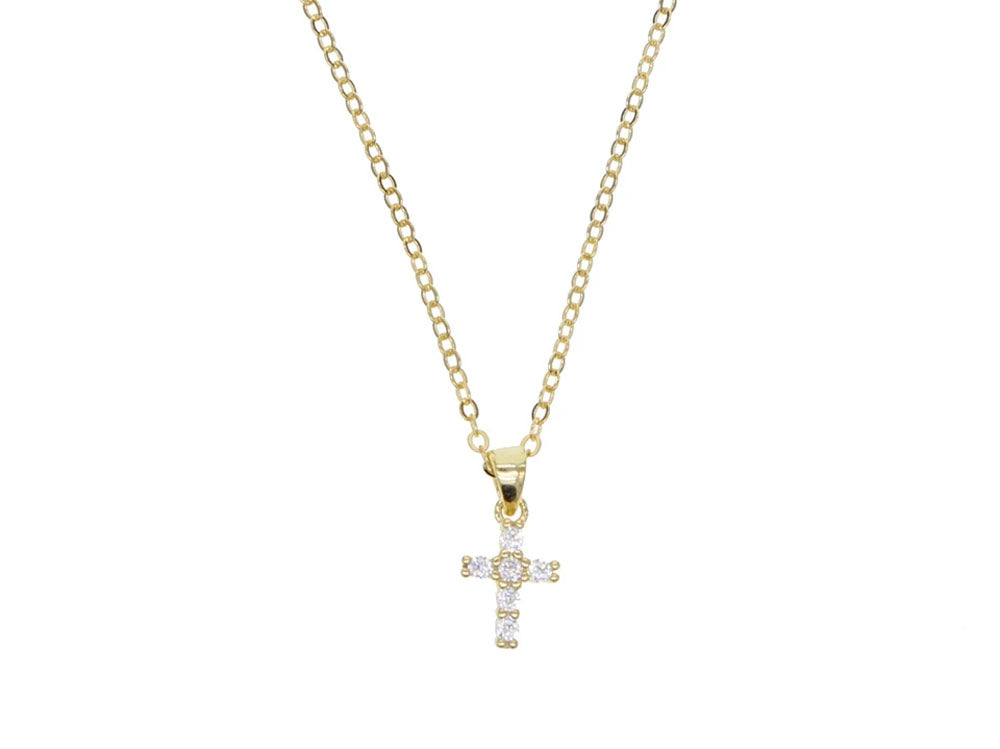 Cross Cubic Zirconia Gold Plated Sterling Silver Necklace