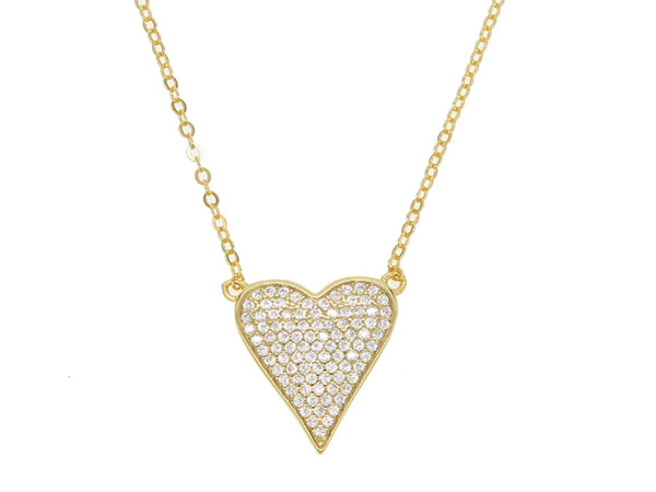 Heart Cubic Zirconia Gold Plated Sterling Silver Necklace