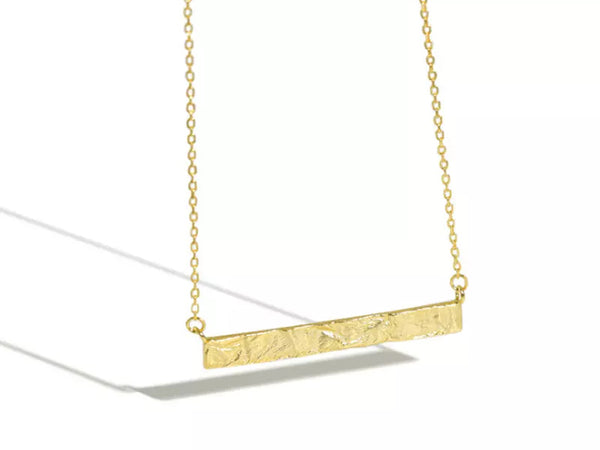 Gold Plated 925 Sterling Silver Necklace Wrinkle Uneven Geometric Rectangle Necklace