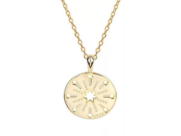 Gold Plated Compass Sterling Silver Necklace