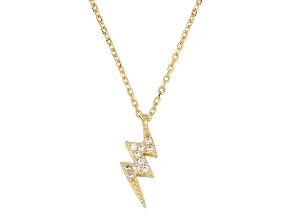 Lightning Bolt Gold Plated Sterling silver Necklace