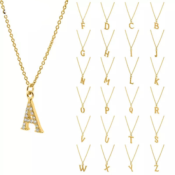 Alphabet Cubic Zirconia Gold Plated Sterling Silver Necklace