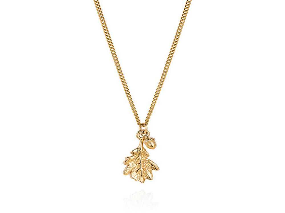 Gold Plated Acorn & Leaf 18'  Sterling Silver Necklace - Essentially Silver Jewelry
