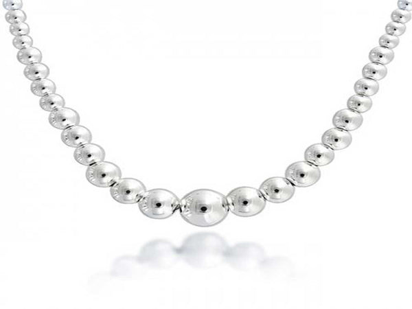 "Ball Graduated Sterling Sterling Silver Necklace  450mm (17.7"") - Essentially Silver Jewelry"