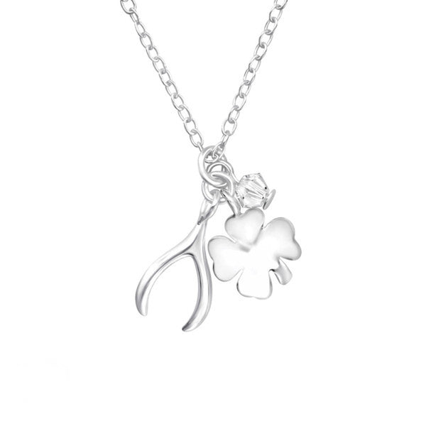 A Sterling Silver Lucky Charm Necklace with Crystals from Swarovski - Essentially Silver Jewelry
