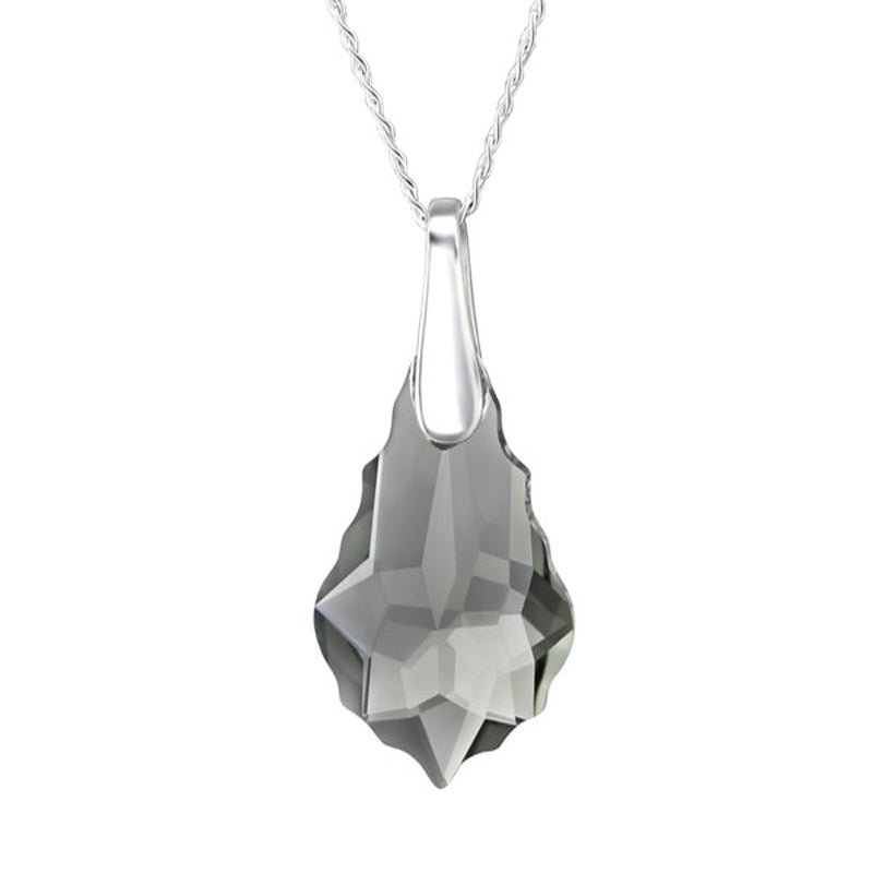 Baroque Crystal Sterling Silver Necklace - Black Diamond Color - Essentially Silver Jewelry