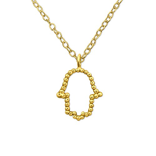 Gold Plated Hamsa Sterling Siver Necklace