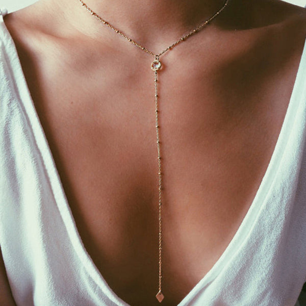 Gold Filled Y Charm Layering Necklace - Essentially Silver Jewelry