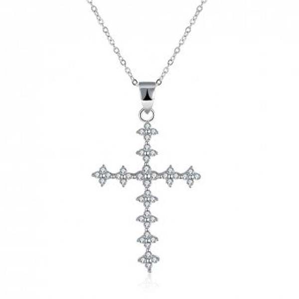 A Sterling Silver Cubic Zirconia Cross Necklace With 45CM Chain - Essentially Silver Jewelry