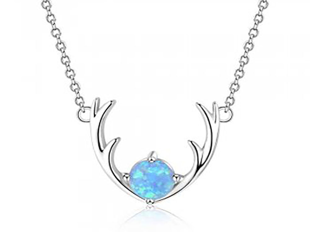 A Sterling Silver Simulated Opal Deer Antlers Necklace with 45cm Chain