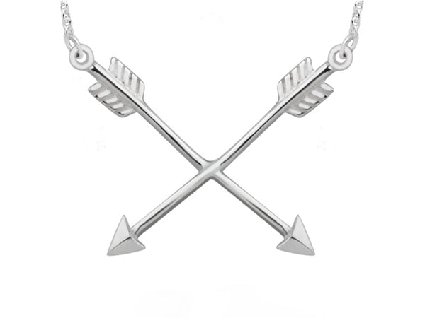 A Sterling Silver Cross Arrows Necklace - Essentially Silver Jewelry