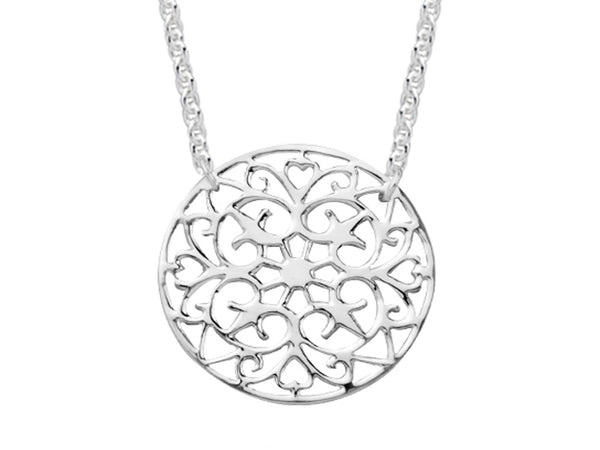 A Sterling Silver Patterned Round  Necklace - Essentially Silver Jewelry