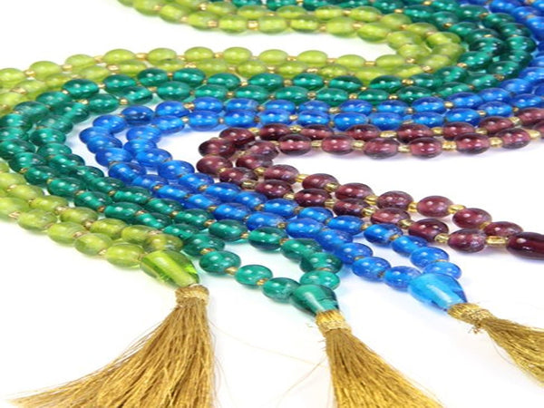 Glass Malas with Gold Tassels - Four Colours - Essentially Silver Jewelry