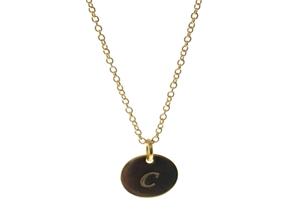 "Gold plated Sterling Silver 18"" Chain Necklace with Inital Tag (choose one) - Essentially Silver Jewelry"