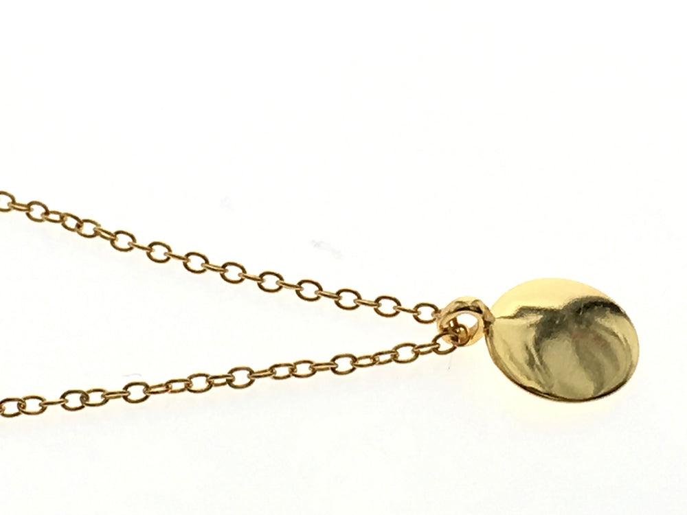 Gold Plated 14K Round Disc Sterling Silver Necklace