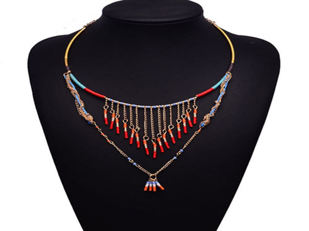 Boho Beaded Drop Necklace - Essentially Silver Jewelry