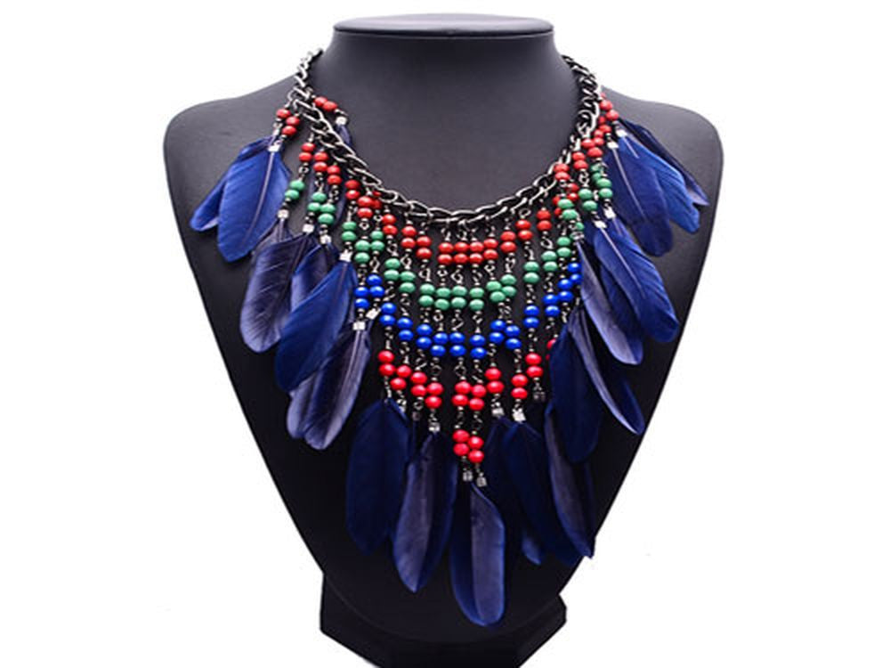 Boho Beaded Blue Feather Necklace - Essentially Silver Jewelry