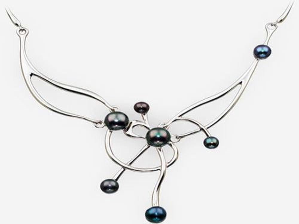 Asymmetrical Black Pearl Sterling Silver Necklace - Essentially Silver Jewelry
