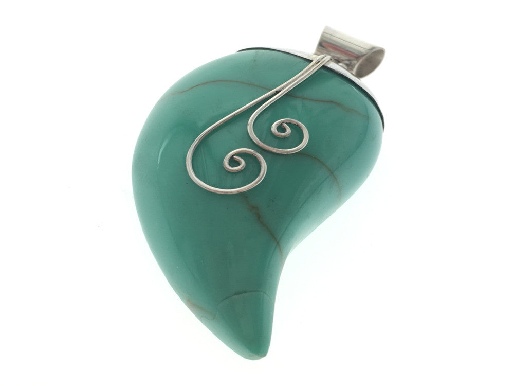 Turquoise Resin Leaf .925 Sterling Silver Pendant
