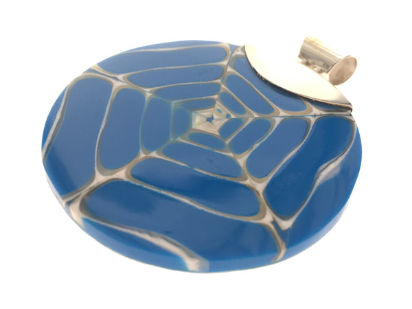 Blue Resin Nautilus Sterling Silver Pendant
