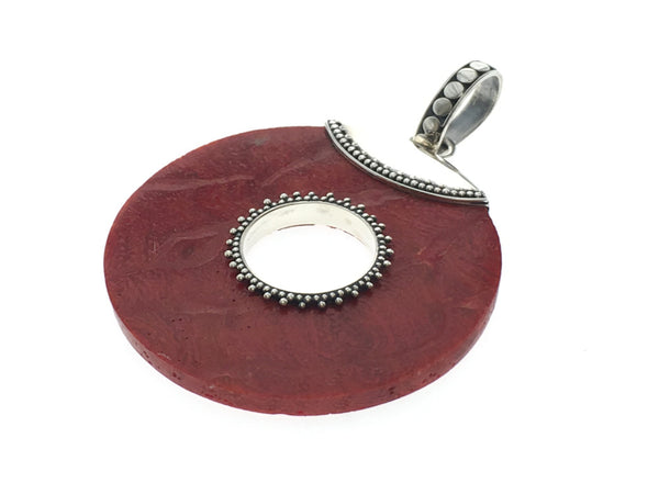Red Coral Round Sterling Silver Pendant - Essentially Silver Jewelry