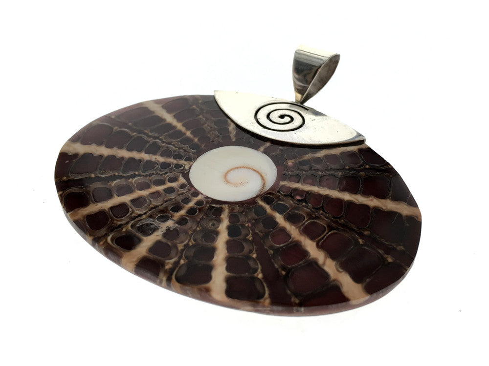 Nautilus Shell Spiral .925 Sterling Silver Pendant - Essentially Silver Jewelry