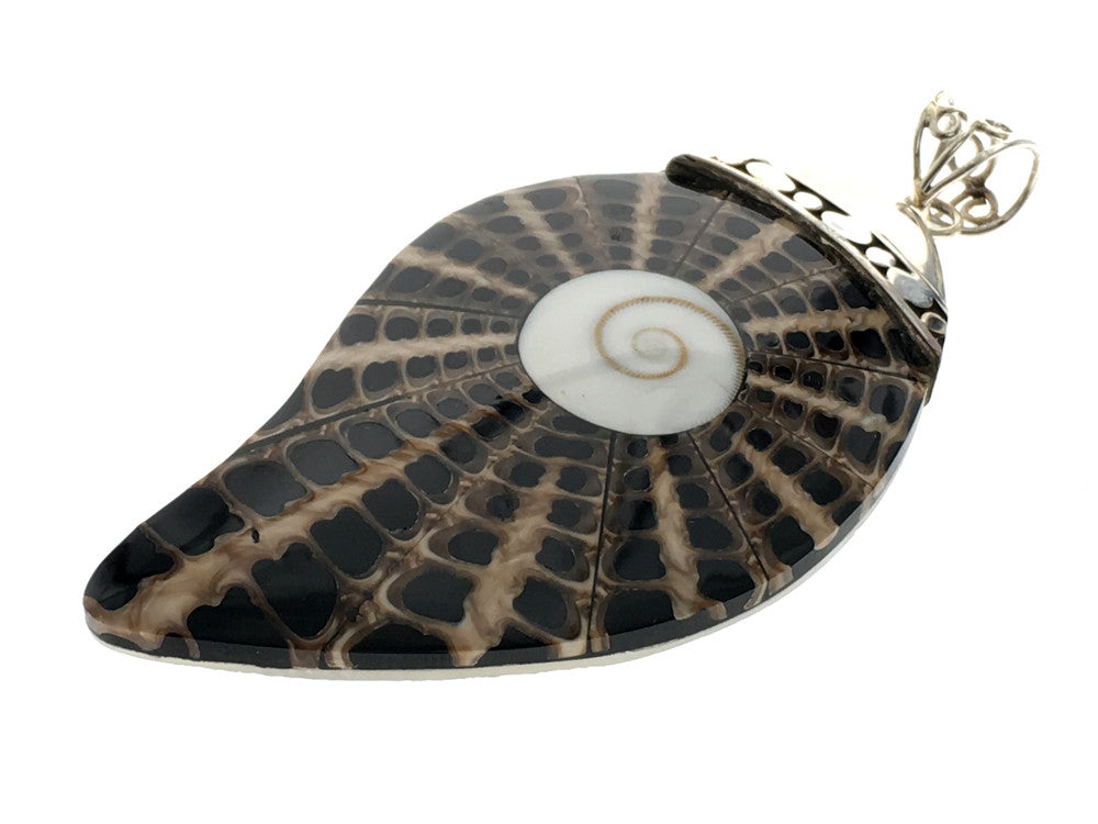 Spiral shell .925 sterling silver pendant