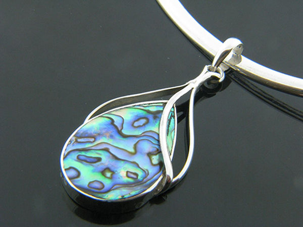 Paua Sterling Silver Frond Pendant