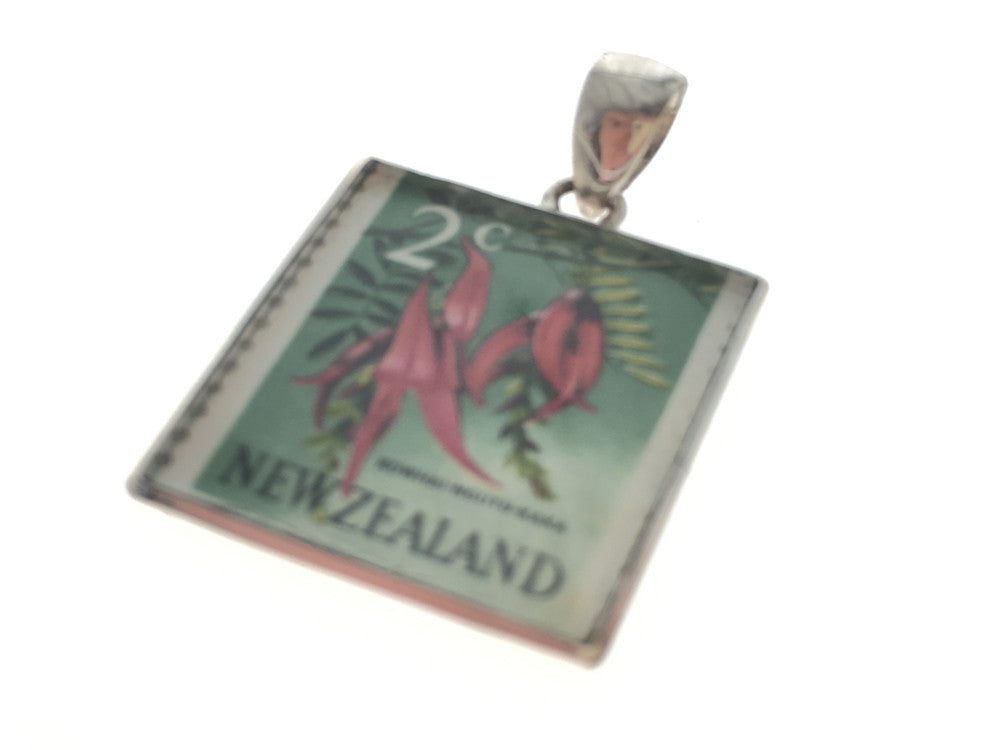 New Zealand Stamp in .925 Sterling Silver Pendant